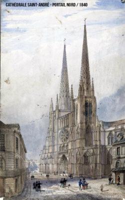 Dessin 1840 portail nord de la cathédrale Saint André